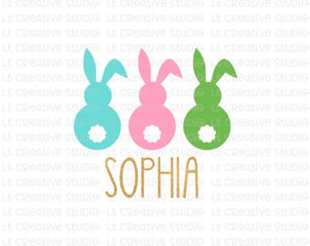 Easter SVG, Easter Bunny SVG, Three Bunnies SVG, Svg File, Siilhouette Cut Files, Cricut Cut Files