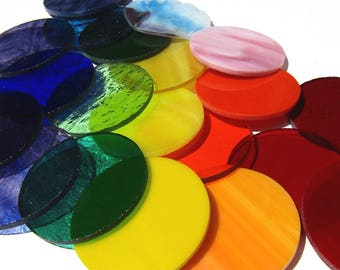 20 Precut Stained Glass Circles Assortment of Rainbow Colors, Precut Stained Glass Shapes, Mosaic Glass Pieces, Choose your Size