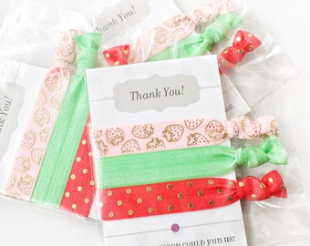 Strawberry Party Favors for Girls, Strawberry Party Supplies, Strawberry Birthday Party Decorations, Summer Party Favor, Hair Tie Favors