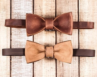 Handmade Leather Bow Tie | Children Bow Tie | Adjustable Neckband | Bow Tie | Rustic Bow Tie