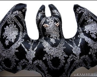 Vampire Bat Pillow Doll by Kambriel - One of a Kind - Vintage Silver and Black Gothic Brocade - Brand New & Ready to Ship!
