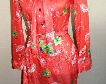 vintage retro dress ... Feelin GROOVY Orange Poly vintage SHIRT DRESS   ...