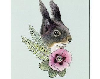 Squirrel with Poppy & Ferns - 5x7 Mini Print