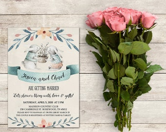 Bridal Shower Invitation, A Couples Shower Invitation, Bunny Invitation, Bunny Couples Shower, Rabbit Bridal Shower, Easter Invitation