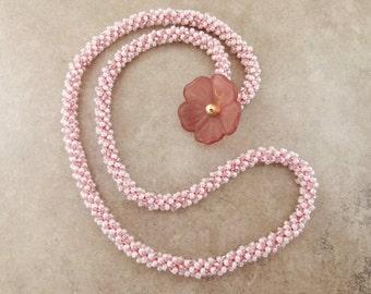 Pink Bead Crochet Necklace with Pretty Flower Clasp or 4x Wrap Bracelet - Item 1538