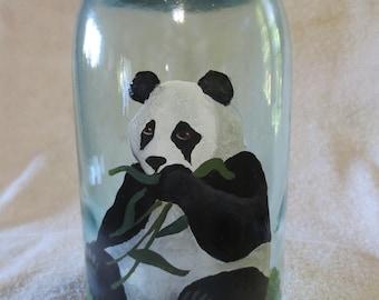 Refurbished Vintage Quart Jar Panda Bear