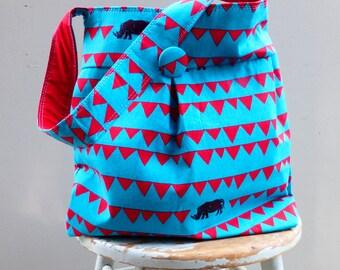 Teal Blue Rhino Bag Large Reversible Hobo Bag - - Black Rhinoceros