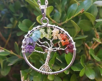 Tree of Life Chakra Necklace, Chakra Pendant, Chakra Necklace, Tree of Life, Tree of Life Necklace