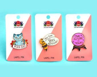 Set Of 3 The Future Is Female Enamel Lapel Pin