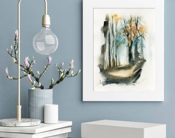 Morning fog in a forest ORIGINAL landscape watercolor painting, trees and forest painting, nature painting art, abstract realism painting