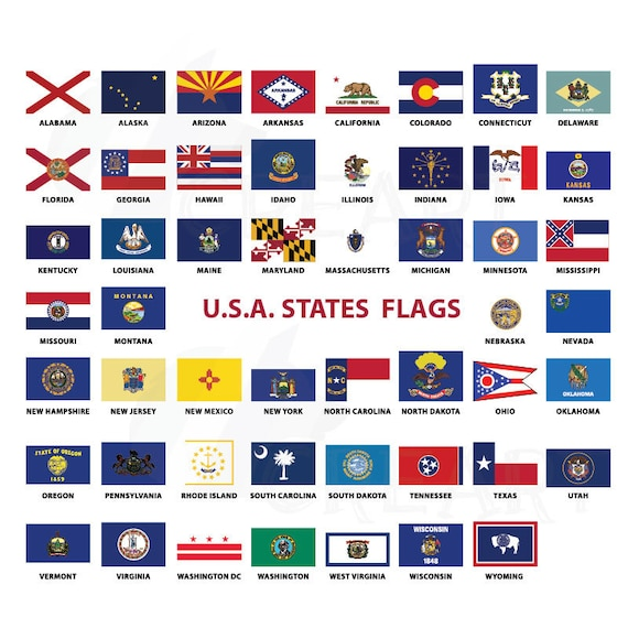 Usa Capital And States Flags Clip Art Collection For Print 50