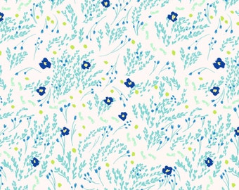 Seafoam Floral FLANNEL Fabric from the Wee Wander Collection by Sarah Jane Collection for Michael Miller Fabrics