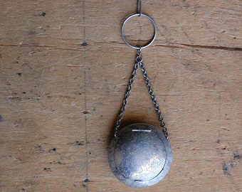 Antique 1920s round silver compact pendant with mirror