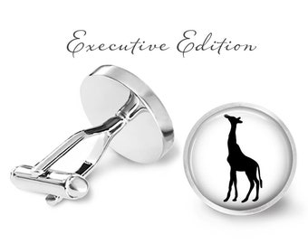 Giraffe Silhouette Cufflinks - Giraffe Cuff Links - African Safari Cufflinks (Pair) Lifetime Guarantee (S1028)