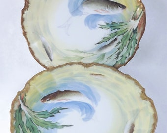 Fish Plates, Hand Painted Fish Plates, Set of 2 Antique Victorian Plates, Hand painted Elite Works Limoges Fish Plate, Made in France