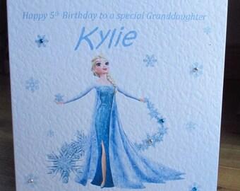 Personalised Handmade Disney Frozen inspired Elsa Birthday Card Any Text