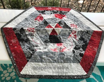 Christmas Hexagon Table Centerpiece -- Metallic Embossed Fabric -- Quilted -- Red, White and Black