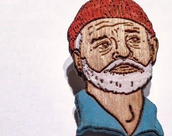 Bill Zissou Lapel Pin | Life Aquatic Wood Hat Pin | Hand-Painted Wooden Film Brooch