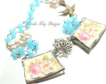 Elegant Roses Broken China Necklace Soldered China Sweet Elegant Roses Nature Bird Theme Necklace Pendant