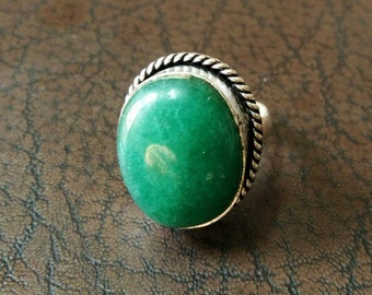 Exquisite Green onyx ring, #1053, Mosaic stone ring- Ethnic ring - Boho ring