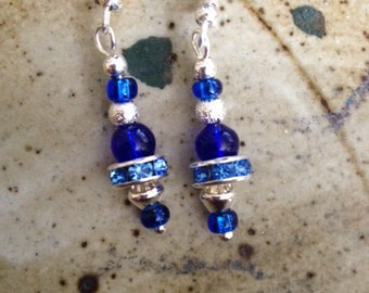 Bright blue and silver earrings, one of a kind