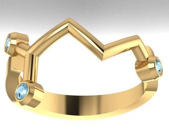 "Gaba molecule solid gold ""calm"" ring set with genuine birthstones - Molecular Bliss"