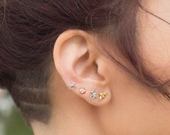 14K Tiny Spider - Stud Earring - Flat Back Earring - Cartilage Earring