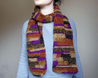 Cozy multicolored green scarf with plum and copper - rustic fall accessories