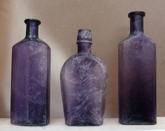 SUNROOM DECORATOR BOTTLES-Three Assorted Dark Purple Utility-1890s