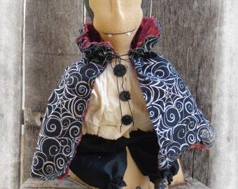Primitive Dracula Vampire Halloween Folk Art Doll, Shelf Sitter, Door Greeter,