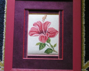 Pink hibiscus painting cross stitch