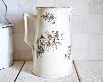 Lovely Antique French SAINT AMAND Ironstone Pitcher || Shabby Chic Floral Pattern Ceramic Jug