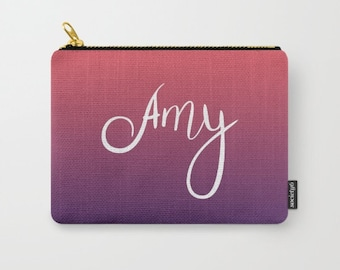 Personalized Pouch, Bridesmaid Clutch Purse, Coral Wedding, Mint and Gold Wedding Bridesmaids Gifts, Bridesmaid Makeup Bag