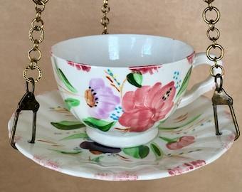 Hanging Bird Feeder, Teacup Bird feeder, Birdfeeder, Recycled, Mid Century, Gardener Gift, Vintage Yard Art, Bird Lovers, Bird Watching