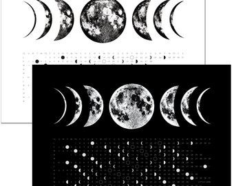 Phases of the Moon, 2018 Full Moon Calendar Phase Kitchen hand Towel, hand printed art screen print, space stars lunar la luna science print