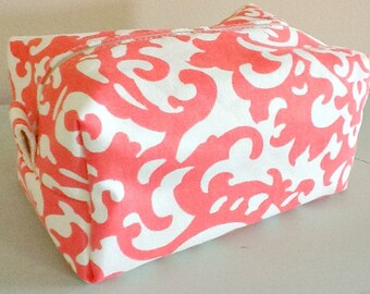 Damask Makeup Bag  - Coral Cosmetic Pouch -  Lunch Bag - Wet Bag - Waterproof Bag