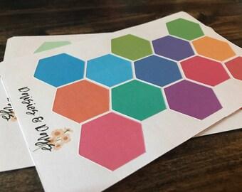 Hexagon shape planner stickers- happy planner Erin condren plum paper Recollections sticker