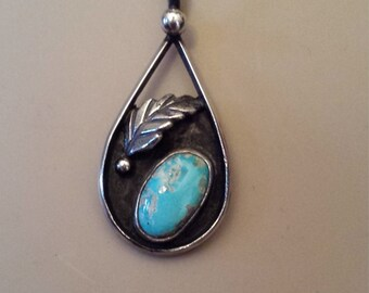 Sterling silver native American vintage pendant with chain