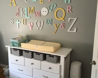 wooden alphabet letters set painted wall hanging nursery