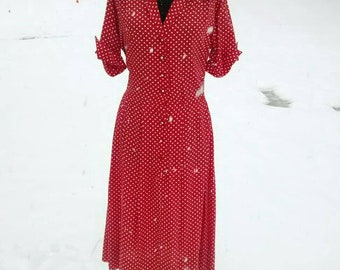 Awesome Red Polka Dot Day Dress