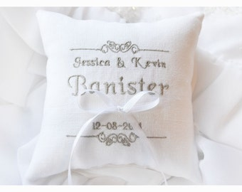 Ring bearer pillow , wedding pillow , wedding ring pillow, Personalized Custom embroidered ring bearer pillow (R28)