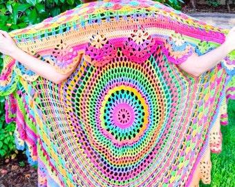 Crochet Bohemian Vest - Long Boho Hippie Vest - Adult One Size Fits All - Wool Mandala Vest