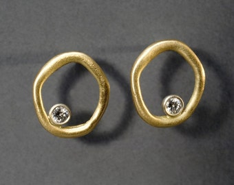 a circle and diamond earrings, 18K yellow and white gold, VVSI diamonds