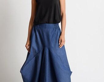 NEW Asymmetric Denim Skirt/Extravagant Loose Skirt/Blue Jean Maxi Skirt/Long Loose Skirt/Oversize Asymmetric Skirt/Elastic Waist Denim Skirt