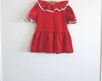 Vintage Red Ruffle Collar Dress