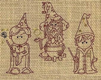 Wizard embroidery, Harry Potter Wizard Machine Embroidery Designs - Red Work Set
