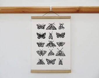 A3 Black Butterflies, Moths and Bees Linocut print