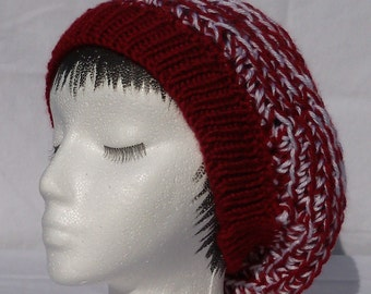 Crochet Tam, Reversible, dark red and white, knitted band, ready to ship
