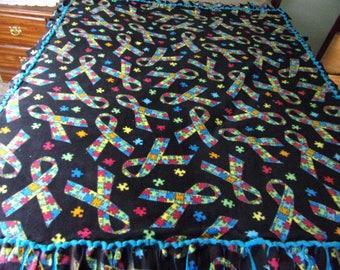 Autism awareness ribbon handmade fleece blanket