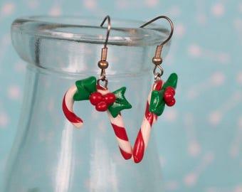 Sweet Candy Cane Earrings, Polymer Clay earrings